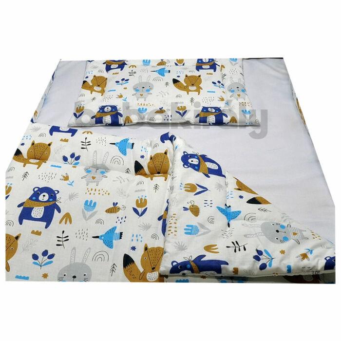 Babakirály Gyermek ágynemű szett Bébi méret, Erdei állatok, kék 75 * 100 cm