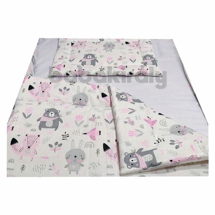 Babakirály Gyermek ágynemű szett Bébi méret, Erdei állatok, rózsa 75 * 100 cm
