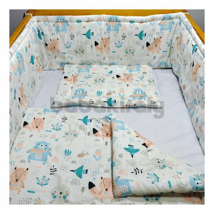 Babakirály Gyermek ágynemű szett Bébi méret, Erdei állatok, türkiz 75 * 100 cm