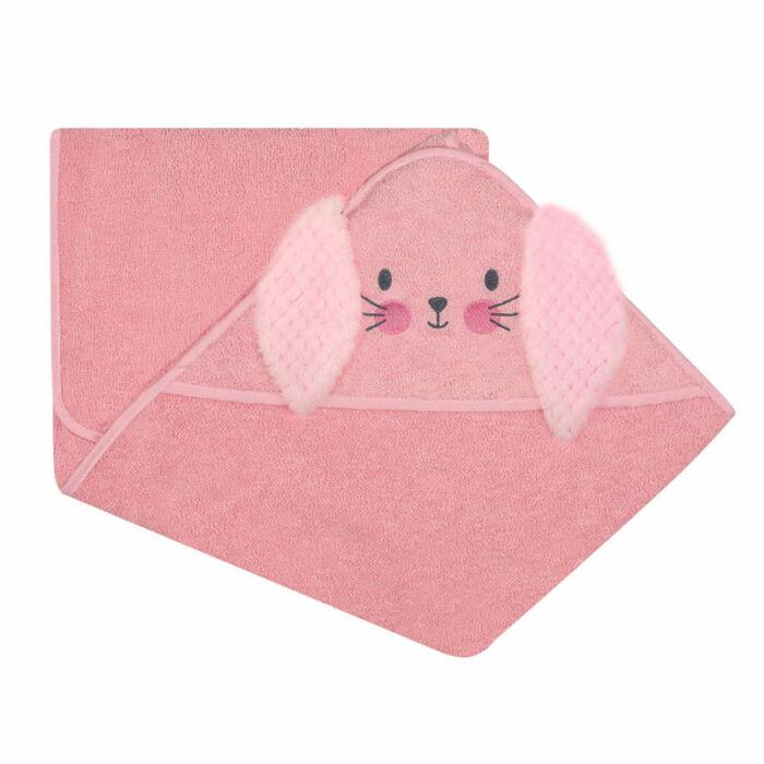 DuetBaby Fürdőlepedő Kapucnis, rózsaszín nyuszi 100 * 100 cm