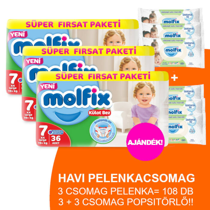 Molfix Havi pelenkacsomag Pants, 3+3 csomag zöld popsitörlővel! (7-es) 19+ kg