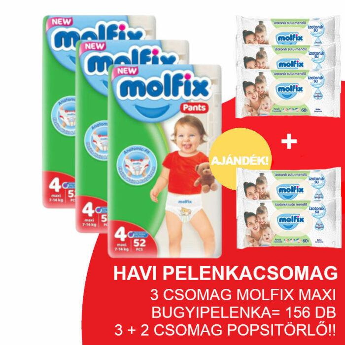 Molfix Havi pelenkacsomag Pants, 3+2 csomag zöld popsitörlővel! (4-es) 9 - 14 kg
