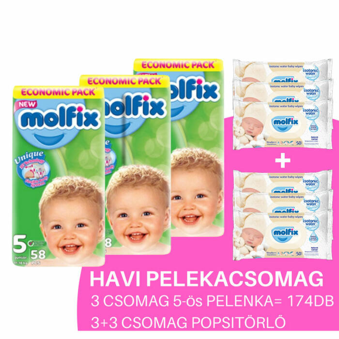 Molfix Havi pelenkacsomag Gigapack, 3+3 csomag popsitörlővel! (5-ös) 11 - 18 kg