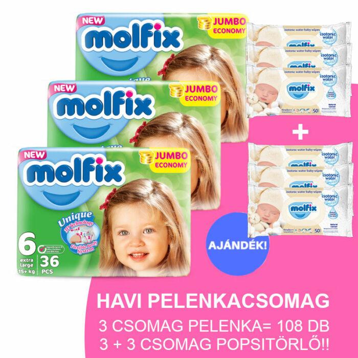 Molfix Havi pelenkacsomag 3+3 csomag popsitörlővel! (6-os) 15 - 30 kg