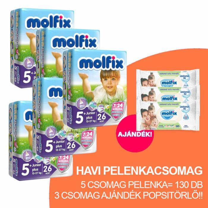 Molfix Havi pelenkacsomag 3 csomag ajándék zöld popsitörlővel! (5+-os) 13 - 20 kg