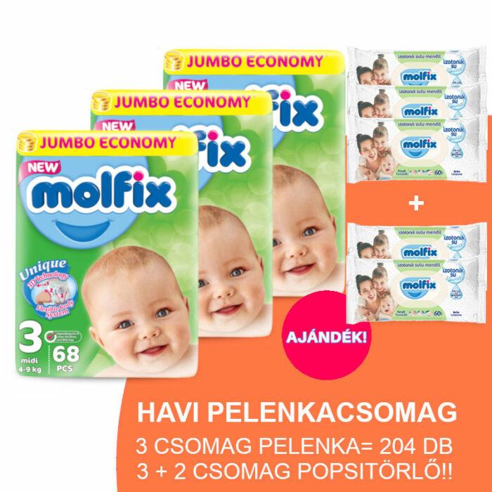 Molfix Havi pelenkacsomag 3+2 csomag zöld popsitörlővel! (3-as) 4 - 9 kg