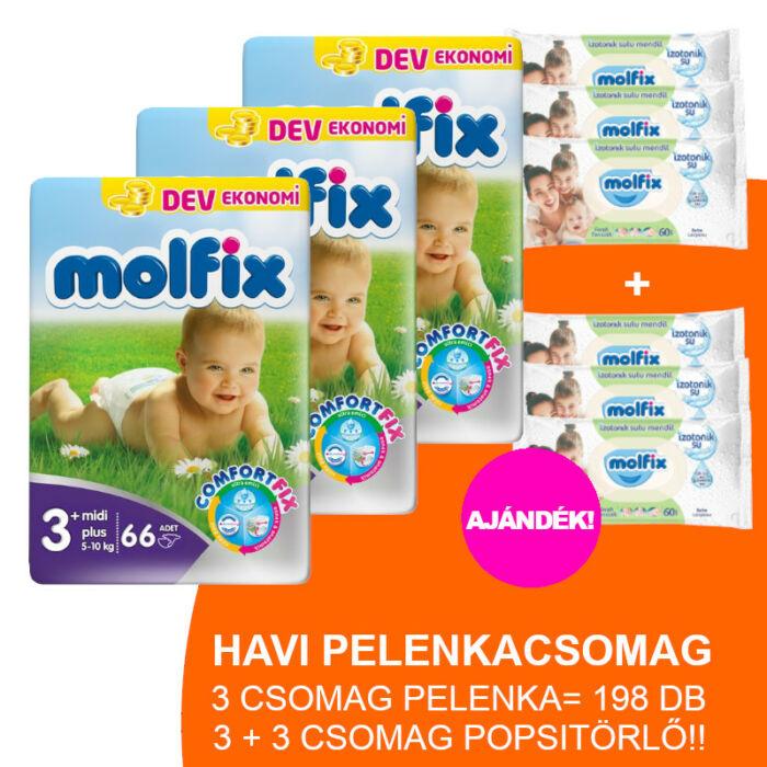 Molfix Havi pelenkacsomag 3+3 csomag zöld popsitörlővel! (3+-os) 5 - 10 kg