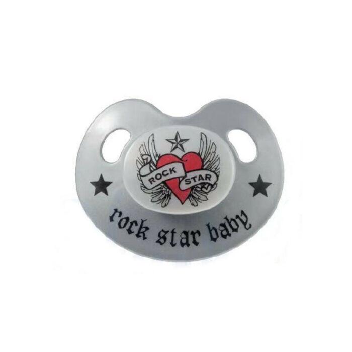 Rock Star Baby Játszócumi design, szürke szilikon fogszabályzós (méret: 1) 0 - 6 hó